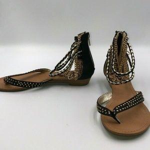 Dressy Black Sandals Ankle Formal Flat Shoes